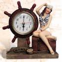 """6"""" Lady Sailor with life-ring clock"""